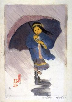 Helen Hyde American etcher, engraver best known for her color etching process and woodblock prints reflecting Japanese women and children characterizations. Umbrella Painting, Rain Umbrella, Under My Umbrella, Walking In The Rain, Singing In The Rain, Japanese Prints, Japanese Art, Illustration Photo, Going To Rain