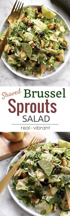Shaved Brussel Sprouts Salad - This Fall-inspired salad is so delicious and made with nutritious brussel sprouts, sliced apples, walnuts, cranberries, and a light homemade dressing. | www.realandvibrant.com