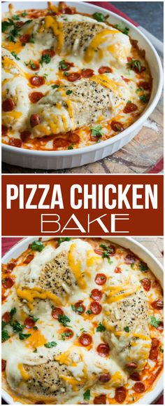 Pizza Chicken Bake - Family Fresh Meals Recipe #familyfreshmeals #protein #chicken #pizzachicken #pizza #casserole #familyfreshmeals #recipe #dinner #easyrecipe #cheesy #chicken #onepot