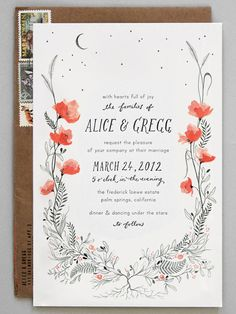 Inspired by garden flowers, this delicate invitation showcases one bright hue. Letterpressed text allows the wedding details to shine./