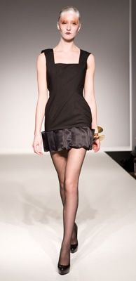 Black Suiting Dress with organza box detail at hem. #EcoChic ~ sexy little black dress