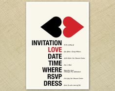 Wedding Invitation Retro Kissing Hearts Red Cream Black Funky - Printable Designs. $15.00, via Etsy.