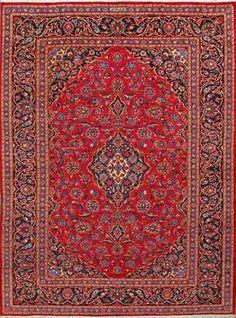 """Kashan Persian Rug, Buy Handmade Kashan Persian Rug 8' 2"""" x 11' 2"""", Authentic Persian Rug"""