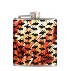 Fiery bat silhoettes hip flask.