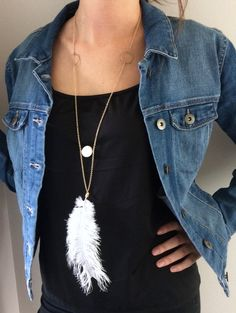 Real Feather Boho Necklace Modern Tribal by PERCIVALandHUDSON