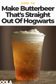 Even if you're not a Harry Potter fan, you're sure to enjoy the series' most famous beverage, Butterbeer, a butterscotch-flavored, slightly frothy libation. Read on for our recipe for the most wizard-worthy Butterbeer. Harry Potter Snacks, Harry Potter Theme, Harry Potter Butterbeer, Harry Potter Recipes, Harry Potter Marathon, How To Make Butterbeer, Yummy Drinks, Yummy Food, Healthy Smoothies