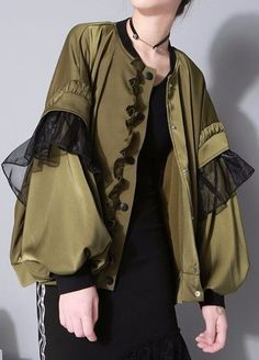 Ruffle Bell-Sleeve Jacket in Army Green or Black