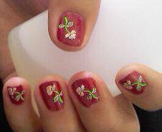 rosa sobre rojo Nail Art, Nails, Beauty, Red, Finger Nails, Ongles, Nail, Nail Arts, Beauty Illustration