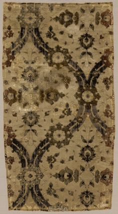 """Silk velvet signed by """"Ghiyath,"""" second half of 16th century; Safavid Iran Silk; cut and voided velvet with continuous floats of flat metal thread; L. 25 3/4 in. (65.4 cm), W. 13 1/4 in. (33.7 cm)"""