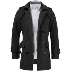 9bc49d4d5e29 Long Business Smart Casual Trench Jackets Long Sleeve Double Breasted Belted