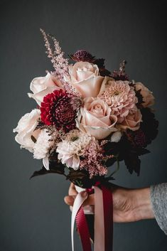 13 ideas and examples for your bridal bouquet 2019 bridalflowerbouquets Brauts ideas and examples for your bridal bouquet 2019 bridalflowerbouquets bridal bouquet pink, bridal bouquet white, bridal bouquet roses, bridal bouquet dahlias red, bridal Vintage Bridal Bouquet, Rustic Bridal Bouquets, Rose Bridal Bouquet, Summer Wedding Bouquets, Silk Wedding Bouquets, Wedding Flower Arrangements, Bride Bouquets, Red Wedding, Bridesmaid Bouquet