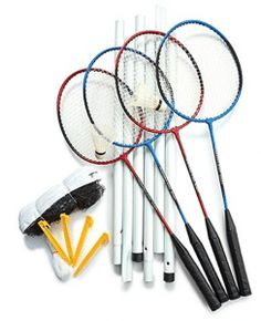 Set includes 4 tempered steel which are nylon strung, dia. poles, 2 ground sleeves, 2 shuttlecocks, 2 x net with 1 x 1 mesh netting and carry bag. Best Badminton Racket, Badminton Games, Badminton Sport, Tennis Racket, Outdoor Fitness Equipment, Family Fun Games, Mesh Netting, Racquet Sports, Exercise For Kids