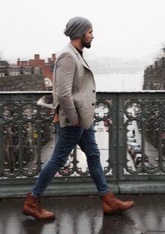 winter casual // boots, denim, blazer, beanie, knit cap