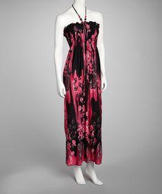 Look at this #zulilyfind! Fuchsia Floral Halter Maxi Dress by Cristina Love #zulilyfinds