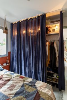 Curtains, Studio, Bedroom, Home Decor, Small Space Solutions, Decorating Small Spaces, Green Doors, Living Room Carpet, Home Made Simple
