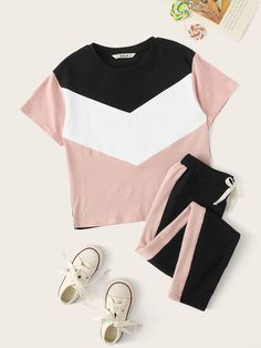 To find out about the Girls Colorblock Top & Drawstring Waist Pants Set at SHEIN, part of our latest Girls Two-piece Outfits ready to shop online today! Girls Fashion Clothes, Teen Fashion Outfits, Sporty Outfits, Outfits For Teens, Trendy Outfits, Emo Outfits, Punk Fashion, Lolita Fashion, Fashion Boots