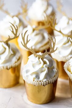 Who is ready for the holidays? I'm almost there. The dinner menu is set—dessert will be these Vanilla Almond Cupcakes you see here. They are so fun and festive, right? The gold cups easily dress up any cupcakes, and those glittered antlers make the perfect holiday statement. But beyond being eye-catching, the cupcakes are just sweet enough for dessert but not overwhelming after a big holiday meal. In fact, they are one of my more pared down cupcakes in terms of visual finishes. But the…