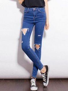 Shop Blue Skinny Cut Out Pants from choies.com .Free shipping Worldwide.$26.99