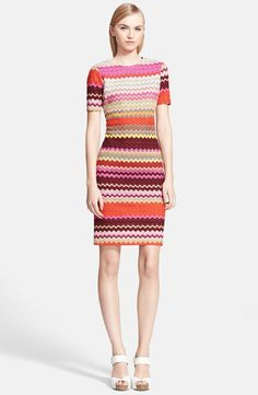 Short Sleeve Patchwork Zigzag Knit Dress