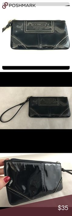 ccfabb7cb3 Coach patent leather wristlet Navy blue Coach Patent Leather wristlet with  silver-tone hardware in