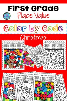 This Christmas Activities First Grade Place value will teach your students 10's & 1's. It includes 8 printables & 8 answer keys. Take a look at the video preview! #christmascolorbycode #christmasactivitiesforkids