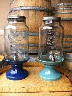 Mason Jar Beverage Dispensers & Blue Stands (also have galvanized metal stands)
