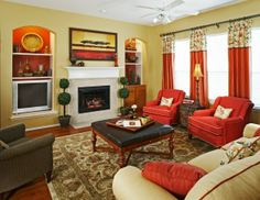 family rooms   ... and many more   Red family room creates a warm feel when gathered
