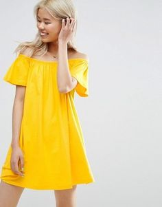Shop ASOS Off Shoulder Mini Dress. With a variety of delivery, payment and return options available, shopping with ASOS is easy and secure. Shop with ASOS today. Robe Swing, Swing Dress, Casual Day Dresses, Short Dresses, Prom Dresses, Yellow Party Dresses, Yellow Dress, Maxi Robes, Vestido Casual