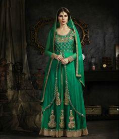 Green Faux Georgette Indo Western Anarkali Suit 58693