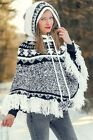 Wool sweater poncho Nordic cape hand knitted with tassels and hood by SUPERTANYA Wool Poncho, Knitted Coat, Mohair Sweater, Poncho Sweater, Thick Sweaters, Wool Sweaters, Icelandic Sweaters, Striped Jacket, Warm Coat