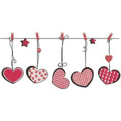 BIN Line Of Hearts – Kreations by Kara – Valentines Day İdeas 2020 Valentines Day Drawing, Valentine Day Crafts, Happy Valentines Day Images, Pottery Painting Designs, Happy Paintings, Art And Illustration, Watercolor Cards, Heart Art, Fabric Painting