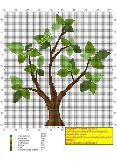 Arbre Cross Stitch Tree, Cross Stitch Borders, Modern Cross Stitch Patterns, Cross Stitch Charts, Cross Stitch Designs, Cross Stitching, Cross Stitch Embroidery, Canvas Template, Tree Patterns