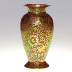 """Decorated Zsolnay vase, dragons, flowers, deer, 8 1/8"""""""