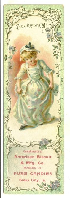 Advertising Book Mark Trade Card American Biscuit 7 Candy Co Sioux City IA | eBay