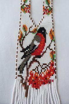 "Гердан""Снегирь"" Bead Loom Patterns, Beading Patterns, Beaded Necklace Patterns, Beads Pictures, Beaded Cross Stitch, Beaded Brooch, Loom Beading, Bead Crafts, Bead Weaving"