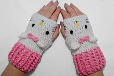 White Cat Fingerless Gloves-Kawaii Gloves-Crochet Gloves-White And pink-animal Gloves- Crochet Fingerless Gloves on Etsy, $28.00