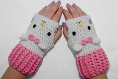 White Cat Fingerless Gloves-Kawaii Gloves-Crochet Gloves-White And pink-animal Gloves- Crochet Fingerless Gloves on Etsy, $28.00
