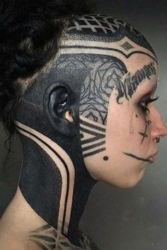 Tattoo Girls, Girl Face Tattoo, Girl Tattoos, Tatoos, Facial Tattoos, Head Tattoos, Body Art Tattoos, Face Tats, Girl Faces