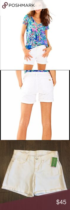 """Lilly Pulitzer South Ocean White Shorts NEW! Lilly Pulitzer South Ocean white shorts. 7"""" inseam. Roll up hem. """"L"""" stitching on back pockets. No trades, offers welcome. Bundle and save! Lilly Pulitzer Shorts Jean Shorts"""