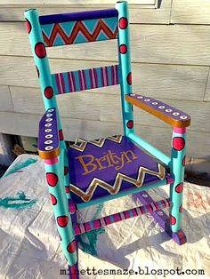 Custom Painted kids rocking chair, garage sale find