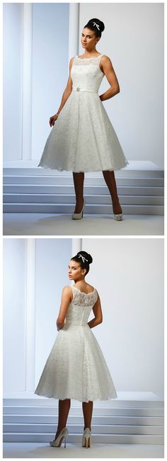 Show off your fabulous bridal shoes in this retro-inspired lace gown with full short skirt.  #retrobride #bridal #shortskirt
