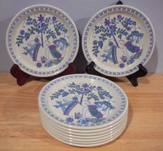 9 LOTTE BREAD PLATES Purple Sleeves NORWAY Figgjo Flint 6 3/8 | eBay Kitchen Dishes, Serving Platters, Norway, Dinnerware, Scandinavian, Decorative Plates, Mint, Pottery, Bread
