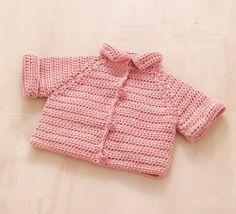 Simple Raglan Baby Jacket Pattern (Crochet)