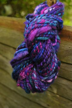 Handspun Art Yarn  handmade hand dyed wool  blue by Innerspiral