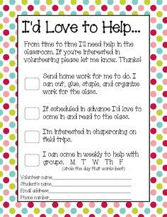 You Might be a First Grader.: Parent Volunteer Form - Parent Involvement - You Might be a First Grader…: Parent Volunteer Form – Parent Involvement - Parent Volunteer Form, Classroom Volunteer, Volunteer Gifts, Volunteer Appreciation, Volunteer Ideas, Classroom Freebies, Kindergarten Classroom, Classroom Ideas, Classroom Resources