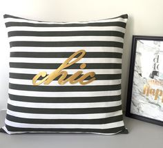 "For those who love stripes and typo, this accents pillow certainly draws attention in your home corners and home office. Perfect as housewarming gift and bridal gift too! **Pick your Text Color: Matt Gold OR Silver(both in PU leather), pls tell me what color you need. **Listing for Pillow Cover Only, without insert. Any inserts of 17"" X 17"" or 18"" X 18"" fits. This is 17inch X 17inch. Fabric is Cotton Canvas blend in classic stripes, with hidden zip at the bottom for i..."