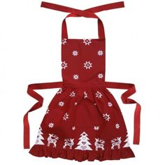 Red Frilly Christmas Apron, a stunning seasonal red cotton apron scattered with white Christmas stars, reindeer and Christmas trees. Perfect Christmas gift and a great (rather large) stocking filler too! - 100% cotton - Useful front pocket - Adjustable neck straps - Extra long ties at the waist - Nips in at the waist to create a frilly vintage skirt effect - Machine washable at 30 or 40 degrees, using non bio detergent - Matching items available