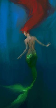 """...to slip beneath the surface and soar along the silent bottom of the sea agile and shining in water honeycombed with light."" ― Ellen Meloy (murmaid art by MeryChess)"