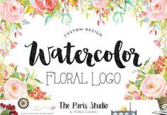 Complete Custom Logo Design Watercolor Floral by TheParisStudio