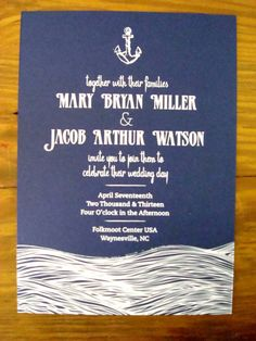 Items similar to Sea & Sail - Wedding Invitation on Etsy Nautical Wedding Stationery, Baby Shower Invitations, Wedding Invitations, Nautical Wedding Inspiration, Watercolor Invitations, Tie The Knots, Save The Date, Dates, Sailing